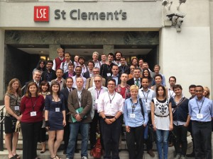 Attendees at the Fact Checking Summit in London pose for a picture