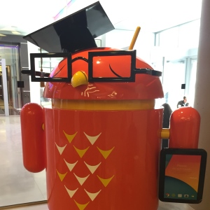 A professorial Android greeted us at Google's Cambridge office.