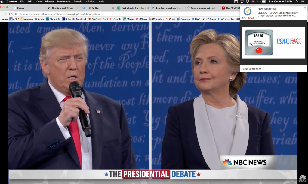 Viewers who take part in the beta test of our new browser extension will see fact-checks appear on a livestream of the debate.